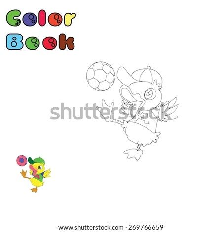 Color book - Duck - stock vector