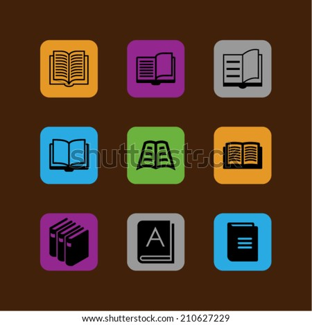color book icons - stock vector