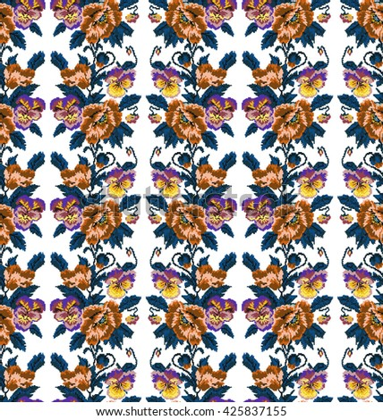Color  bouquet of flowers (poppies and pansies) using traditional Ukrainian embroidery elements. Orange, brown, violet, yellow, blue tones.Seamless pattern. Can be used as pixel-art.  - stock vector