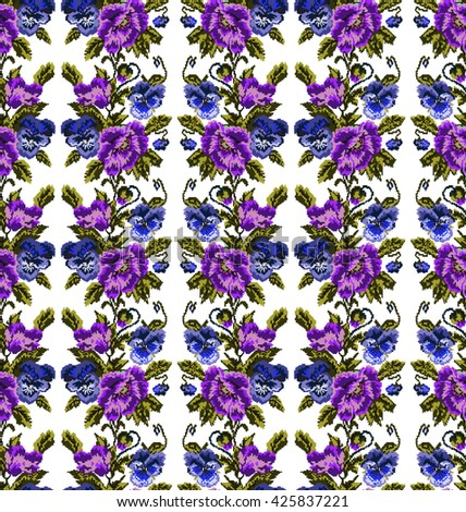 Color  bouquet of flowers (poppies and pansies) using traditional Ukrainian embroidery elements. Violet, dark blue, green tones. Seamless pattern. Can be used as pixel-art.  - stock vector