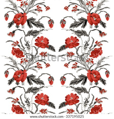 Color  bouquet of flowers (poppies,ears of wheat and cornflowers)red and grey tones. Ukrainian embroidery elements. Hand made. Seamless pattern. Can be used as pixel-art.   - stock vector
