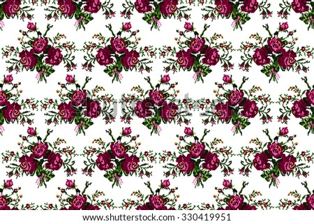 Color bouquet of flowers (roses and cornflowers) in violet and green tones using traditional Ukrainian embroidery elements.  Seamless pattern. Can be used as pixel-art, card, emblem, icon. - stock vector