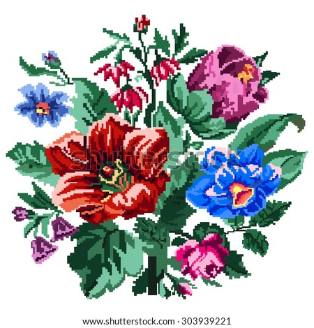 Color bouquet of wildflowers (lilia, bellflower, barberry flower and cornflowers)  using traditional Ukrainian embroidery elements. Can be used as pixel-art.   - stock vector
