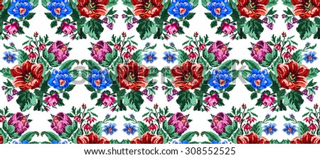 Color bouquet of wildflowers (lilia, bellflower, barberry flower and cornflowers)  using traditional Ukrainian embroidery elements. Can be used as pixel-art. Seamless pattern. - stock vector