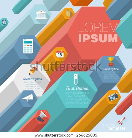 Color boxes. Infographic chart vector design. - stock vector