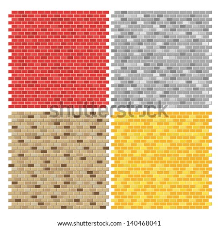 Color brick wall textures collection - stock vector