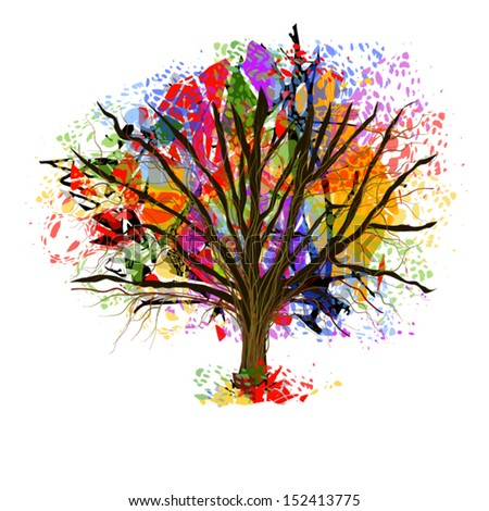 Color bright tree from paint spots - stock vector