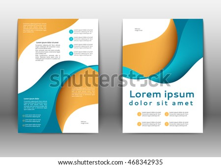 Color brochure template with abstract lines and waves