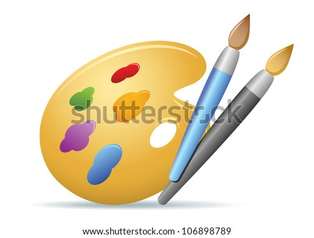 Color Brushes & Palette Illustration - stock vector
