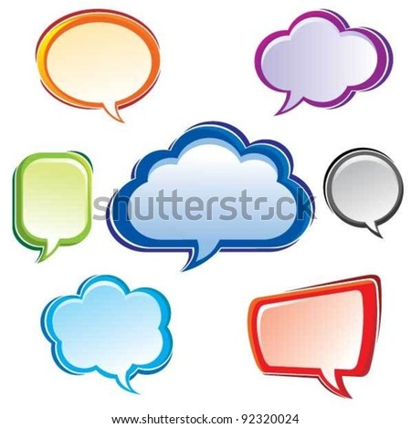 Color bubbles set.Set of colorful vector speech bubbles with realistic shading. Each element is grouped separately for easy editing.Simple gradient use only