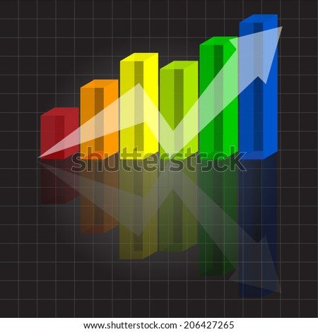 Color Business Graphs, Chart 3D, 3D Vector Graphic, Vector illustration. - stock vector