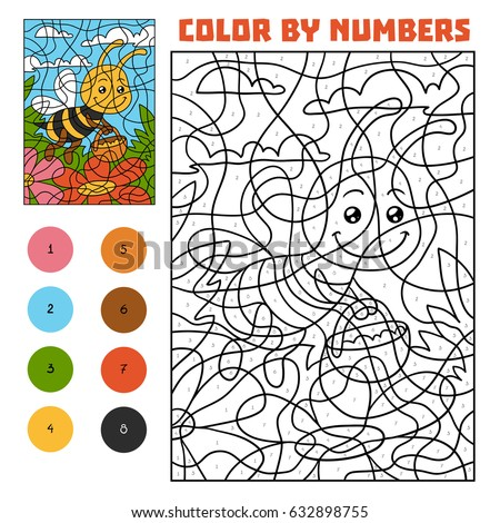 Color By Number Education Game For Children Bee