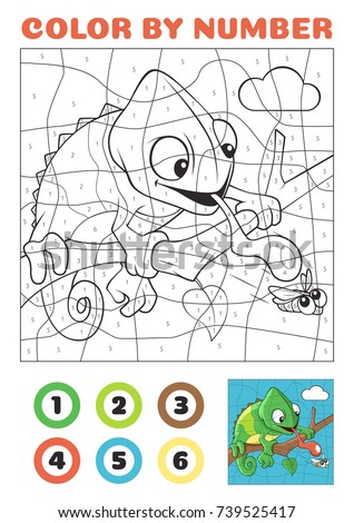 Color By Number Educational Game Kids Stock Vector 739525417 ...