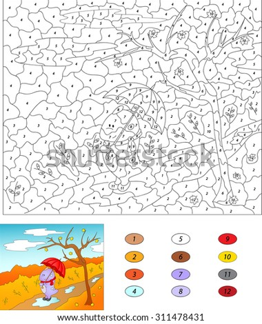 Color by number educational game for kids. Purple dragon walks with red umbrella in an autumn park. Vector illustration for schoolchild and preschool
