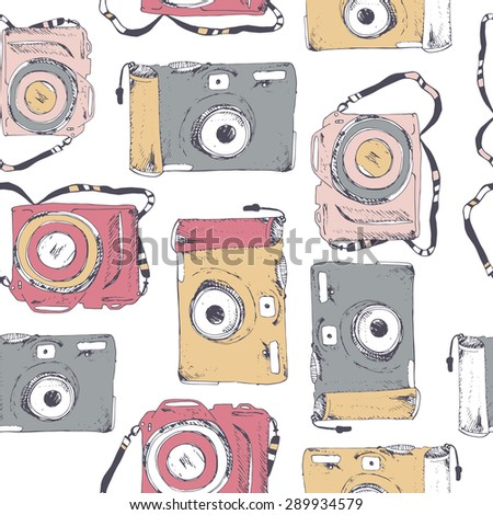 Color cameras. Seamless pattern - stock vector