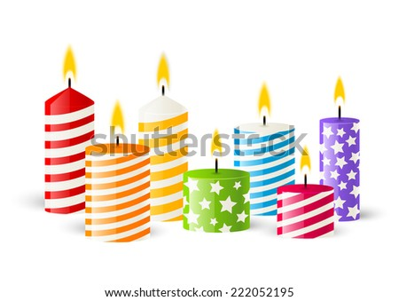Color candles on white background