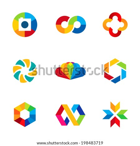Color capture imagination limitless education share community logo icon set - stock vector