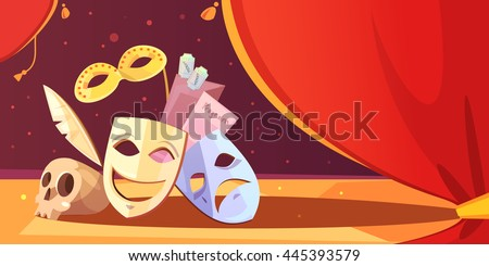 Color cartoon illustration depicting theatre props mask skull vector illustration