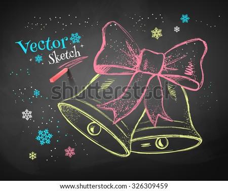 Color chalk vector sketch of Christmas Bells on black chalkboard background.  - stock vector