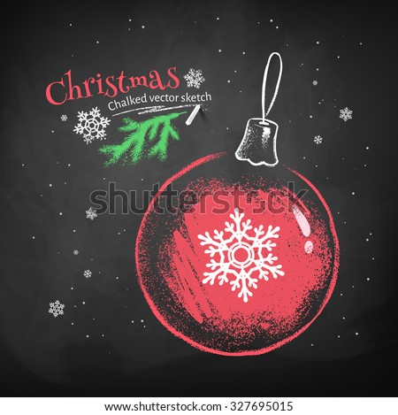 Color chalk vector sketch of red Christmas ball with snowflake on black chalkboard background.  - stock vector