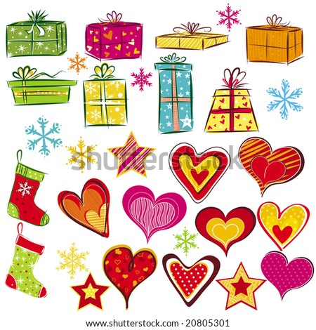 color christmas gifts and valentines heart, vector illustration - stock vector