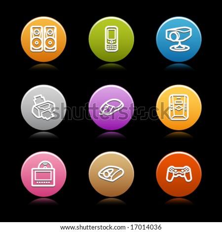 Color circle web icons, set 21 - stock vector