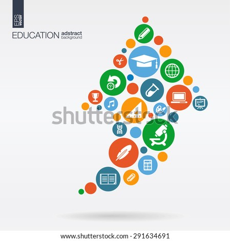 Color circles, flat icons in a arrow up shape: education, school, science, knowledge, elearning concepts. Abstract background with connected objects, integrated group of elements. Vector illustration - stock vector