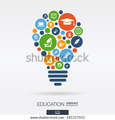 Color circles, flat icons in a bulb shape: education, school, science, knowledge, elearning concepts. Abstract background with connected objects in integrated group of elements. Vector illustration. - stock vector