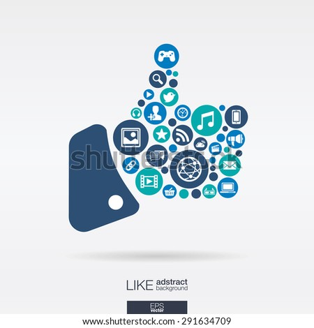 Color circles, flat icons in a like shape: technology, social media, network, computer concept. Abstract background with connected objects in integrated group of elements. Vector illustration - stock vector