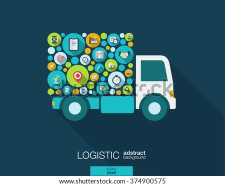 Color circles, flat icons in a truck shape: distribution, delivery, service, shipping, logistic, transport, market concepts. Abstract background with connected objects. Vector illustration. - stock vector