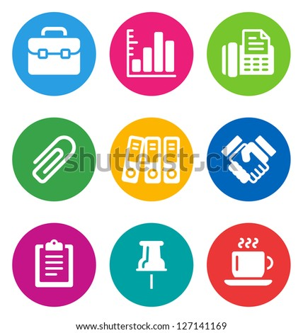 color circular business icons isolated on white background.   business buttons - stock vector