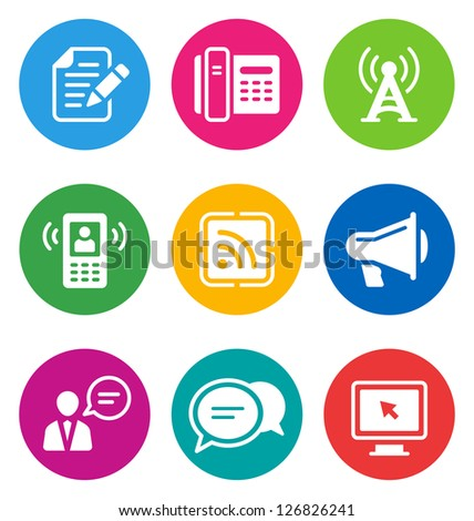color circular communication icons isolated on white background.  EPS 10 vector illustration, contains NO transparencies - stock vector