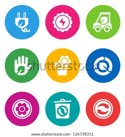 color circular environmental icons isolated on white background.  EPS 10 vector illustration, contains NO transparencies - stock vector