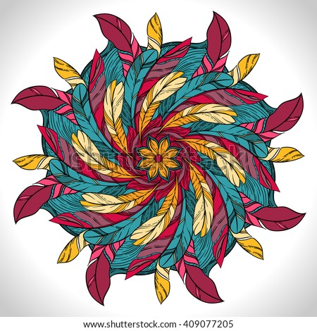 Color circular pattern. Round kaleidoscope of  feathers and floral elements
