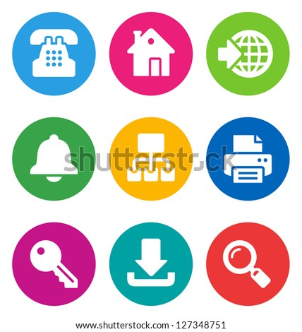 color circular web icons isolated on white background.