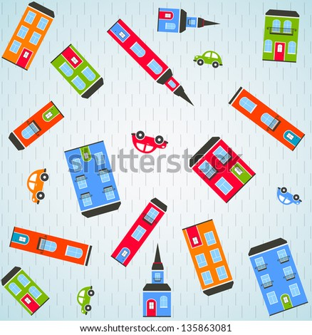 Color city background. Vector - stock vector