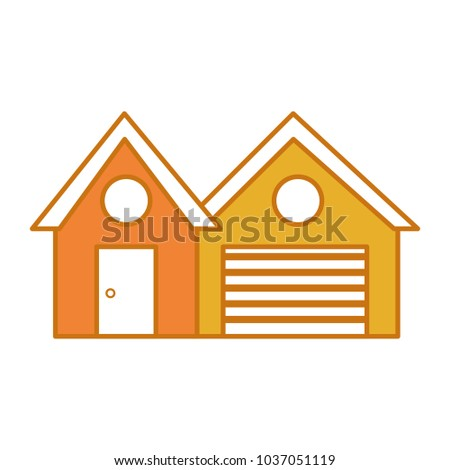 color city house with garage and windows design