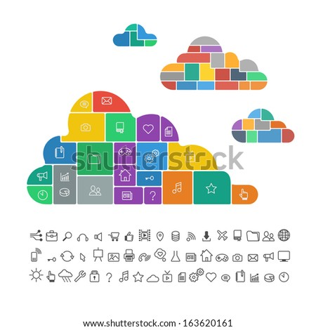 color Cloud database computing infographics flat - stock vector