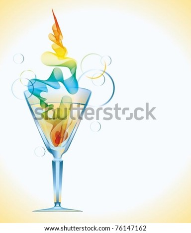 Color cocktail with abstract wave, vector eps10 - stock vector