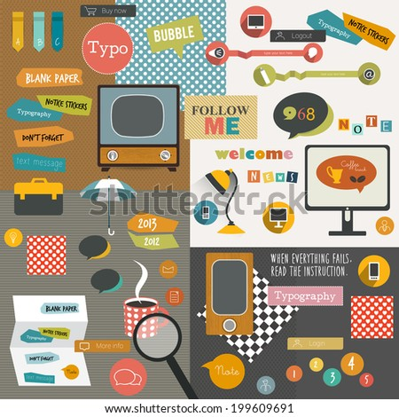 Color collage of stickers, notices, reminders, icons. Old fashion style. Infographic elements. Vector template. - stock vector