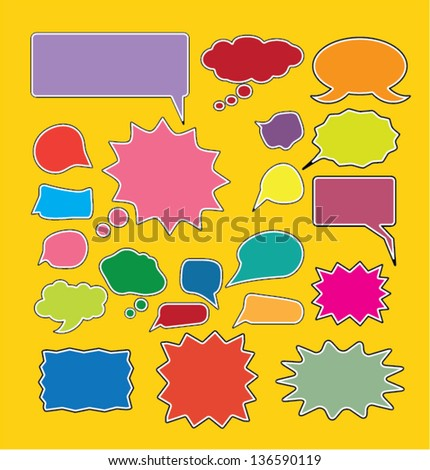 color comic chat & speech bubbles, icons, signs for web and design, vector - stock vector