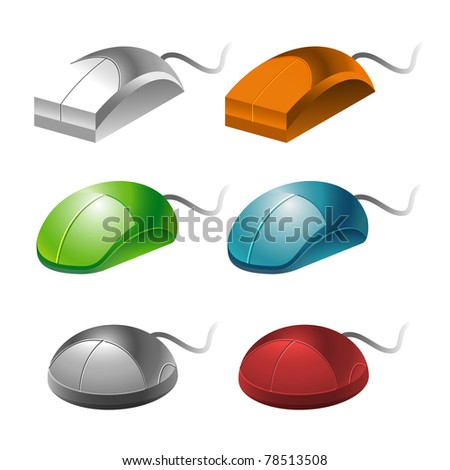 color computer mice isolated on white background