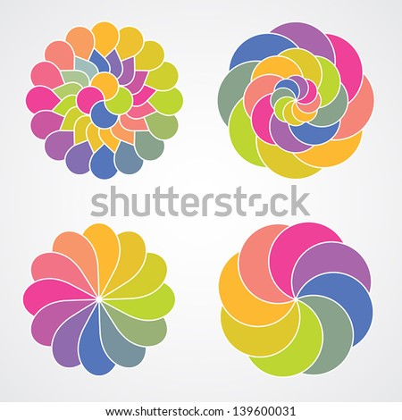 Color concentric circles - stock vector
