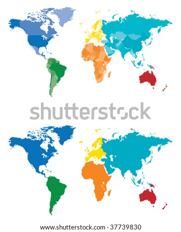 Color Continent and Country map - stock vector