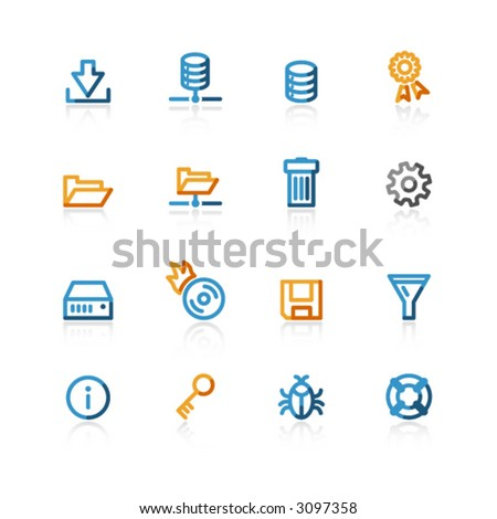 color contour file server icons - stock vector
