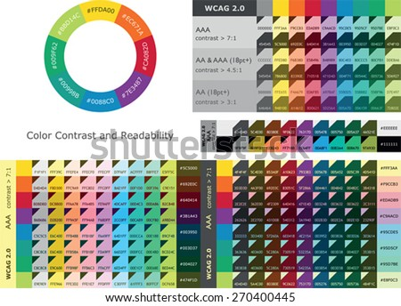 Color contrast and readability between text and background colors - stock vector