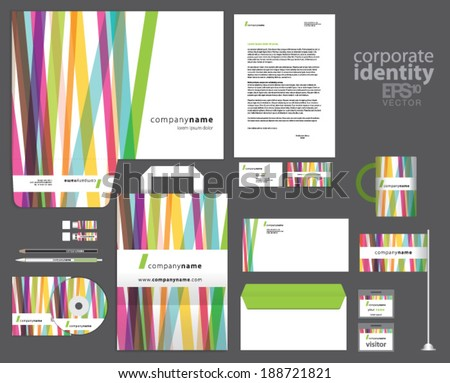 Color corporate identity template design with colorful lines. Vector company style. - stock vector