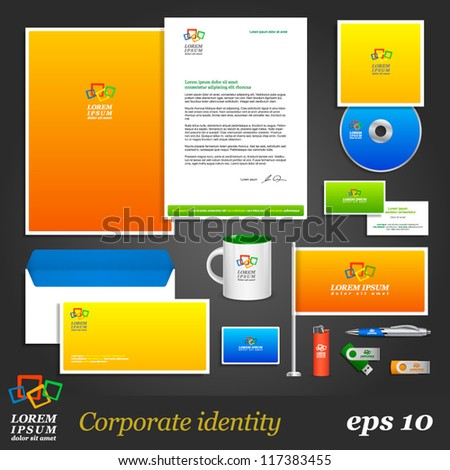 Color corporate identity template. Vector company style for brandbook and guideline. EPS 10 - stock vector