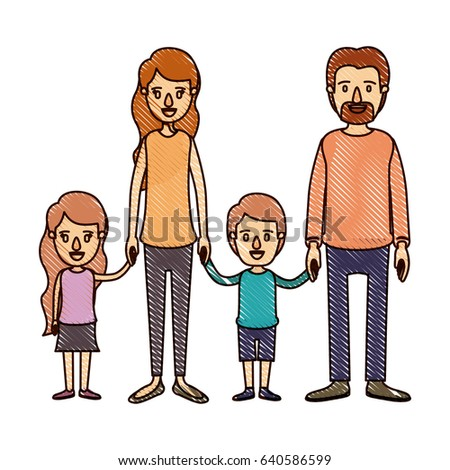 color crayon stripe cartoon family group with parents and children taken hands vector illustration