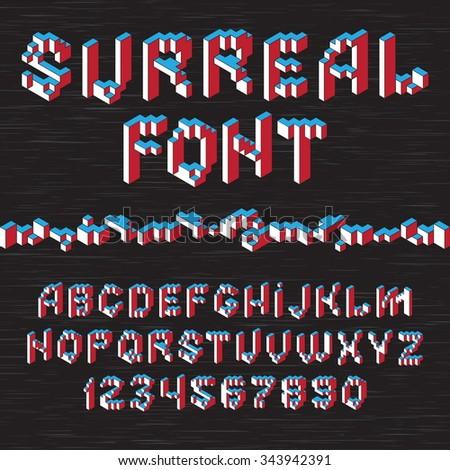 Color 3D isometric font alphabet on dark background. Vector illustration - stock vector